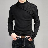 Men's Personality Asymmetric Sleeve Fashion Sweater Knitwear Male Sweaters For 2014 Bussiness Man Inside Coats Spring