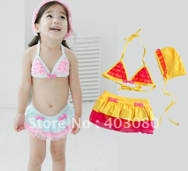 wholesales 2012 newest Girl's swimwear,kid swimsuit,ChildrenTwo Pieces   bikini,goldfish modelling swimsuit&Free shipping