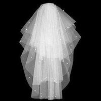Cheap White Beaded bridal veil/tulle veil Head Veil Wedding Veils Free shipping