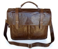 Optional LOGO Decent Style Men's Briefcase Messenger Laptop Bag Vintage Tan Leather 5 Pcs/Lot #6057