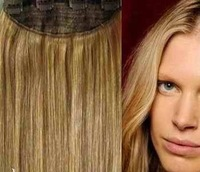 """Exempt freight 20"""" 1pcs full head human hair clip in on extensions #8,100g ,the best gift"""