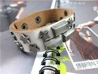 2011 NEW Freeshipping wholesale and retail leather punk bracelet with chain
