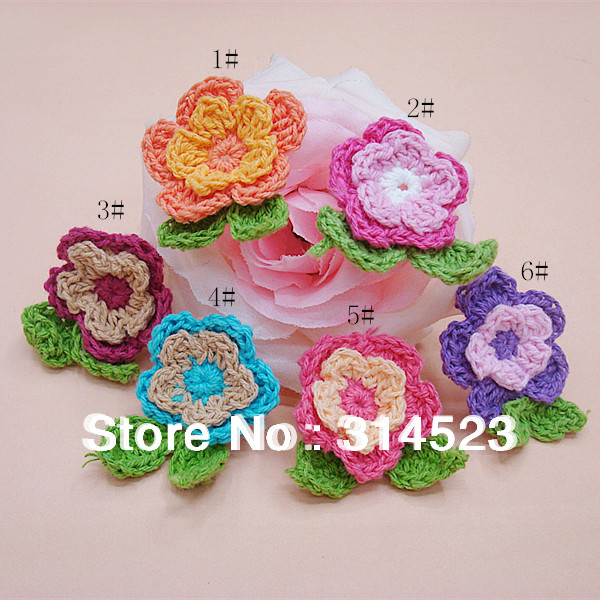 Free shipping handmade cotton apparel crochet flowers 100pcs/lot(China (Mainland))