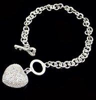Heart & Key bracelet in 925 sterling silver, Wholesale Price, Free shipping