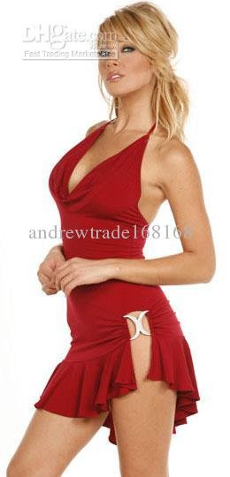 Lace Satin Babydoll Underwear Chiffon Halter Bow Dress & Thong 5130 Red One Size Hot Sexy Lingerie(China (Mainland))