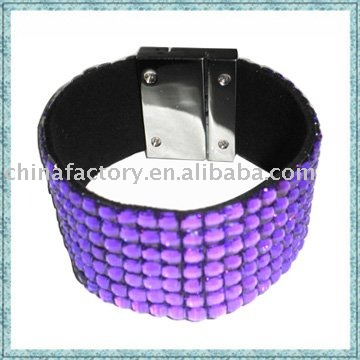 Fashion popular leather plastic bracelet 7 lines magnetic bracelet leather wrap bracelet(China (Mainland))