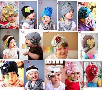 girls' hat headband barrette caps berets headdress hoody flower beanie hair pin Top Baby CAP