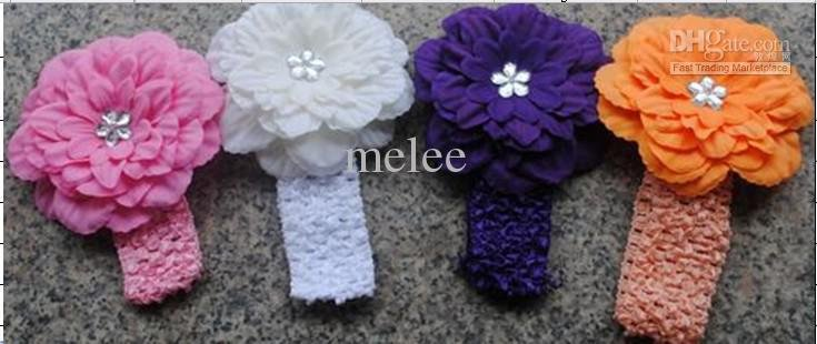 Gerbera Daisy Flowers Crochet Headband 10 Daisy Flower baby girl Headband HairClip Headbands Flower(China (Mainland))