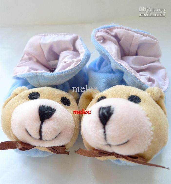 Blue little bear baby boy girl slippers New! (0-6M)(China (Mainland))
