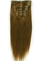 """24"""" 7pcs human hair clip in on extensions #6,120g ,the free shipping"""