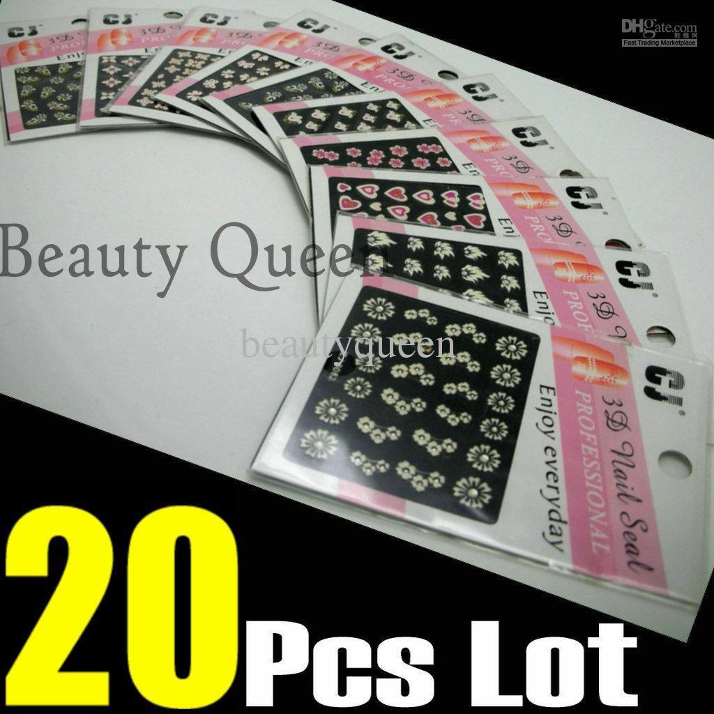 New FREE SHIP - 20 Pcs/Lot 3D Nail Art Sticker Set Mix Design Tip Decal Decoration Fashion