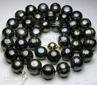 Free shipping BAROQUE PEARL NECKLACE zz9 11-12MM TAHITIAN BLACK