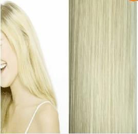 "high quality 24""7 pieces #613 90g light blonde low price 100% real human hair clips in extensions real straight full head free"