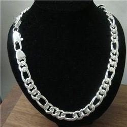 free shipping wholesale 925 silver men jewelry necklace chain,925 sterling jewelry,necklace jewellry,10mm 22inch(China (Mainland))