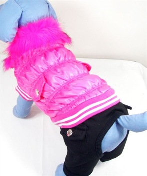 Wholesale 10PCS Dog/Puppy Down Jacket/Feather Dress/Winter Coat Dog Warm Coat fushia coffee pink blue colors Free Shipping