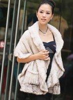 (#11-0105-2)free shipping fashion women's 100% genuine knitted mink fur shawl/scarf/fur jacket/retail/wholesale/natural fur