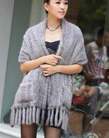 (#11-0106-3)free shipping fashion women's 100% genuine knitted mink fur shawl/mink scarf/mink jacket/mink coat/retail/wholesale