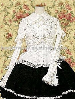 guaranteed 100% Cotton lace black lolita free shipping white Blouse & black Skirt dropship free shipping