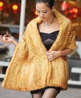(#11-0107-2)free shipping fashion women's 100% genuine knitted mink fur shawl/mink scarf/mink jacket/mink coat/retail/wholesale