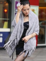 (#11-0108-3)free shipping women's 100% genuine knitted sapphire big/large mink fur shawl/mink scarf/mink coat/retail/wholesale