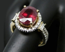 Amazing,Fancy Jewelry 4.42Ct Solid 14Kt Yellow Gold Natural Diamond Dark Red Ruby Ring