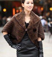 (#11-0112-1)free shipping women's 100% genuine knitted black/brown/red mink fur coat/fur scarf/fur vest/retail/wholesale
