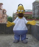 Homer Simpson Mascot costume costume Christma fur Cartoon Mascot Costume Cartoon Character Costume for Adult Free shippping