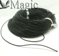 50M Length Black Round Real Leather Jewelry Making Findings Cord 2mm