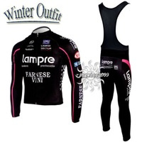 Free Shipping!! WINTER FLEECE CYCLING LONG JERSEY+BIB PANTS 2010 LAMPRE -PICK SIZE:S M L XL XXL XXXL