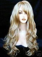 long Mixed Blonde fashion Wavy Wig/wigs color Fashion Free shipping