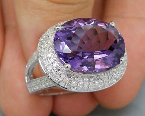 Free Shipping Solid 14Kt White Gold Diamond Purple Amethyst Ring(China (Mainland))