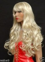 Beautiful long blonde curl human made hair full wig wigs color Fashion Free shipping