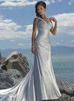 New Popular Romantic Beach Wedding Dresses One-shoulder Court Train Satin Bridal Gown <Custom-Made>