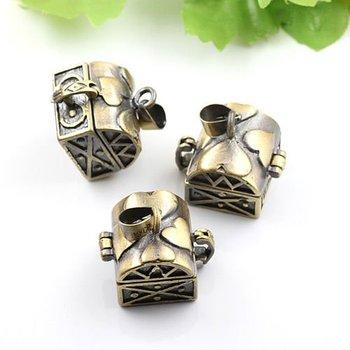 Dropship Pendant DIY Brass Bronze Copper European Antique Style Heart Prayer Box Photo Locket Jewelry 1161011