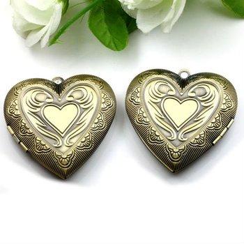 Dropship Pendant DIY Brass Bronze Copper European Antique Style Heart Flower Prayer Box Photo Locket Jewelry 1131007