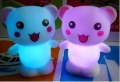 free shipping can shine 7 colours happy bear small night lights Lamp Colorful LED candle romantic weeding Valentine gift(China (Mainland))