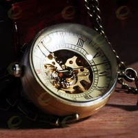 10pcs/lot Glass ball Mechanical Pocket Watch Necklace Pendant Fashion watch