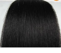"""50cm 20"""" 8pcs #1 90g jet black 100% real human hair clips in extensions real straight full head free shipping"""