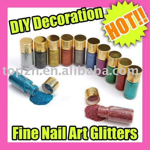 Best Selling Fast Shipping 12PCS/LOT 12 Color Fine Glitters Decoration Nail Art Powder Dust Bottle C052(China (Mainland))