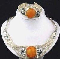 Tibetan Silver Amber Necklace Bracelet Set  Fashion Free shipping