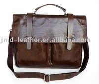 Free Shipping 6071# Guarantee 100% Genuine Vintage Leather Men's Chocolate Briefcase Messenger Handbag Lapto Bag