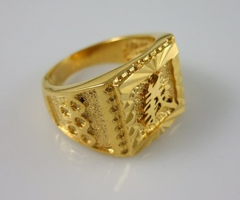 Wholesale Super deal New arrival fashion Jewelry vacuum plating 24K gold Ring size 9 Super price !Free Shipping ZKR4