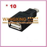 10pcs USB A Female to Mini USB B 5 Pin Male Adapter Converter