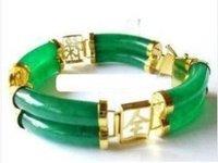 Superb Jewelry Natural Gorgeous jade 14 K GOLD  Bangle bracelet shipping free