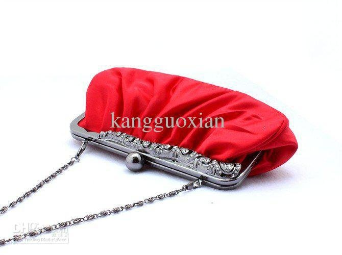 New red Womens Satin Handbag Clutch Evening Bag Purse(China (Mainland))