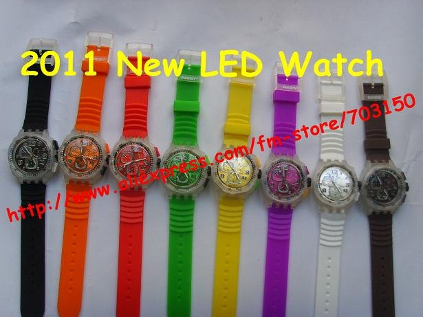 2011 New fashion LED Watch Silicon Watch in 8 colors 200pcs/lot(China (Mainland))