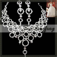 Fast Free Shipping! Gorgeous Alloy with Rhinestones and Crystal Wedding Bridal Jewelry Set Including Necklace and Earrings -JV29