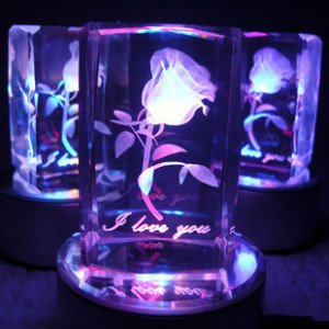 Wholesale Free Shiping 3D Rose Valentine Crystal Rose Gift