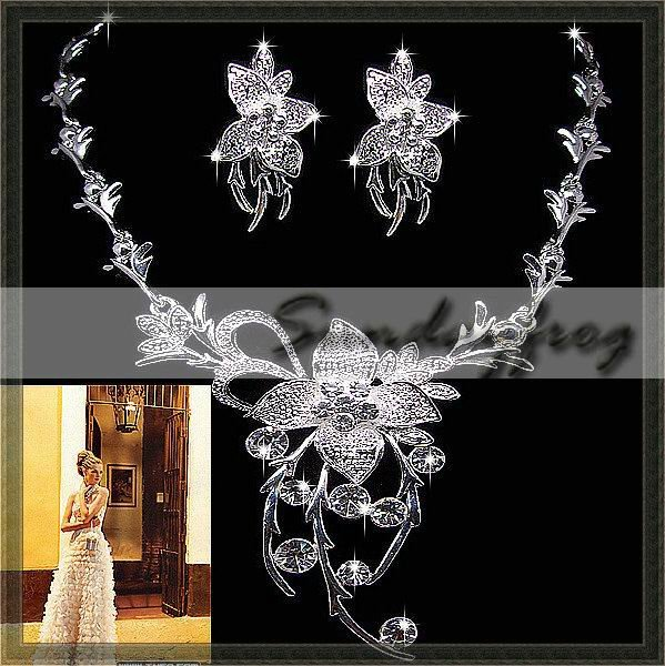 Fast Free Shipping! Gorgeous Alloy with Rhinestones Flower-shaped Wedding Bridal Jewelry Set Necklace and Earrings -JV40(China (Mainland))