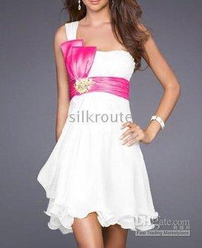 Chiffon bridesmaid dress,white 2010 New Style one shoulder embroidery sleeveless